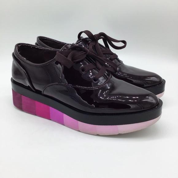 Zara Platform Loafers Burgandy with ombré pink soles 39